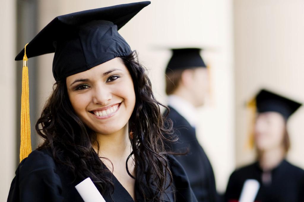 Powerful female graduate